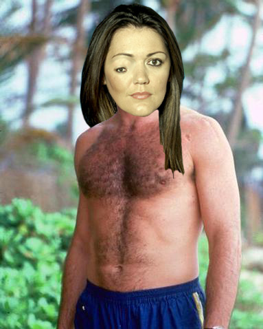 Helene Knickers takes some time off from being invisible in The Apprentice to work on her manly tan