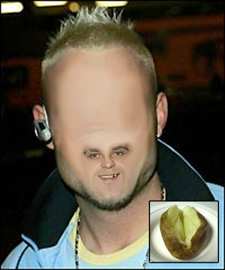 Idiot Brian Harvey with his nemesis, the jacket potato (inset)