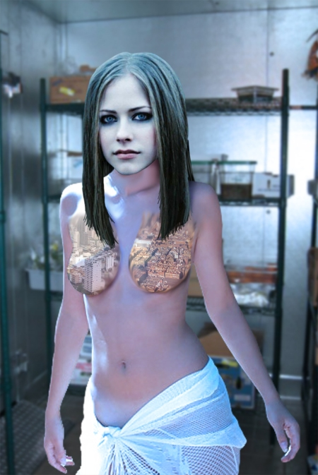 Avril Lavigne shows her infected tits off in a walk-in fridge, yesterday